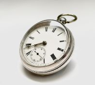 An open-face keywind pocketwatch by A H Drinkwater Coventry number 14655 London 1884 diameter