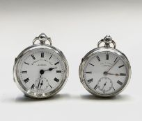 Two silver Chester hallmarked English watches, one by Samuel no.828104 53.6mm hallmarked 1907 the