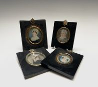 Four Georgian to early Victorian oval miniature portraits of ladies Generally neglected condition,