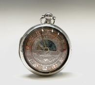 A George IV silver lunar pair cased pocket watch the verge movement numbered 330.Diameter 59.25mm