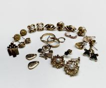 Two pairs of gold earrings un-marked but test as 18ct 12.9gm together with other gold earrings and