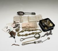 Costume jewellery, plate cutlery, a small amount of silver items including a lucky horseshoe