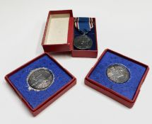 """Two 1935 silver Royal Mint silver-jubilee medals 1 1/4"""" each boxed together with the George VI"""