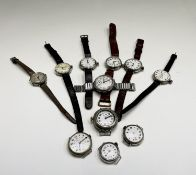 A collection of eleven trench watches. Condition: They all seem to be working, several are sluggish,