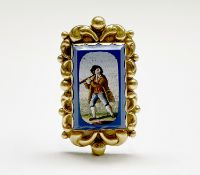 A 19th-century micro-mosaic gold brooch showing an itinerant musician 47.8x28.2mm 11.3gm