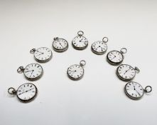 Ten silver cased key-wind fob watches each with plain white open face, the largest is 41mm.