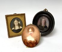 A Regency portrait of a young lady Indistinctly initialled and dated 8x7cm, a portrait of a young