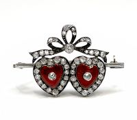 A late Victorian gold and enamel double heart brooch, silver set with bright diamonds 4.9gm 34.4mm