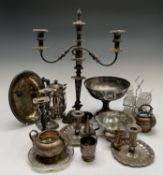 Various silver-plated pieces, including a Regency style hot water jug by Mappin and Webb, a triple