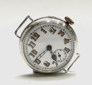 Three silver trench cased wristwatches each 33.5mm. Phillip Wadsworth. Died 2020 Originally from