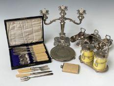 A 'Marmalade' and 'Jam' stand, three sugar helmets and two scoops, a set of six ramekins, etc.