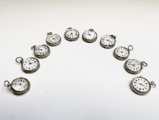 Ten silver cased key-wind fob watches each with an ornamental dial and each with engraved