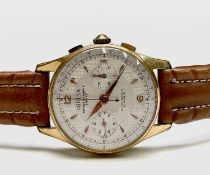 A Coresa gold plated chronograph wristwatch 36.8mm diameter 47.8gm including strap. Phillip