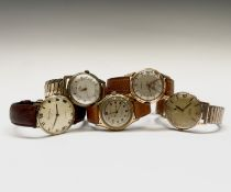 A stylish Avia large gilt wristwatch 32.37mm together with four other gentlemen's gold plated