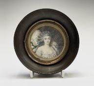 An 18th-century portrait of a lady reclining on pillows she wears a décolleté dress 6.5cm diameter