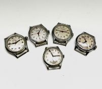 Five nickel-plated military-style wristwatches, Cyma Tavannes 28.5mm, Samuel Minster 30.2mm, Avional