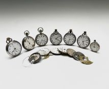 A silver trench cased wristwatch, Diameter 35mm, incomplete together with seven other watches and