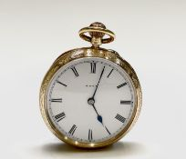 An 18ct gold engraved keyless fob watch by Jays London number 6998 36.5mm, 44.8gm London 1898.