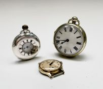 A small silver half-hunter cased pocket watch with keyless movement, diameter 43.2mm, 61gm
