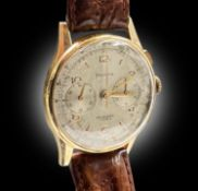 An Helvetia 18ct gold cased chronograph wristwatch with 17 jewel movement. Diameter 37.5mm, 50gm