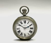 A Waltham Non-magnetic, nickel, keyless pocket watch, movement number 7586052, the dial signed J.