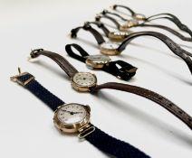 Eight ladies gold cased wristwatches. Phillip Wadsworth. Died 2020 Originally from