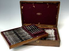 A good quality suite of knives by Joseph Rodgers & Sons, ornate silver plated handles, steel blades,