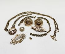 A 9ct (unmarked) chain 54cm, two 9ct watch bracelets, and other gold 40gm UK Postage: £17.04