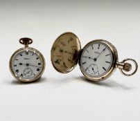 A Waltham 9ct gold cased (inner cover also gold) keyless open face watch, movement no. 16456105,