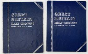 G.B. Halfcrowns 1911 - 1967. Complete run contained in 2 Whitmans Folders. Mixed grades but better