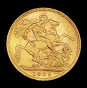 Great Britain Gold Sovereign 1909 Edward VII Condition: please request a condition report if you