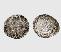 Elizabeth I, Sixpences x 2. Both 1582, not much detail on face. Condition: please request a