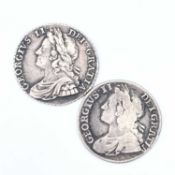 George II Shillings x 2. 1734 Roses & Plumes VF, 1739 Roses F. Condition: please request a condition