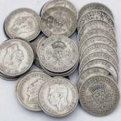 Great Britain King George VI 2/- 1937-1946 Pre 1947 silver (x29) A selection in circa F grade -