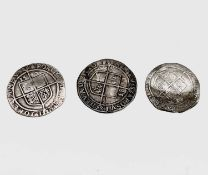 Elizabeth I, Sixpences x 3. 1582 x 2, both worn, one trimmed; 1583F, slight creasing. Condition: