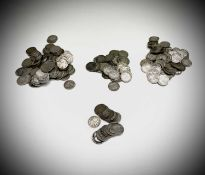 Great Britain Silver 3d pre 1920 coinage and pre 1947 coinage. Comprising: 310 gms of pre 1920 coins