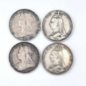 Crowns, Queen Victoria (x4) 1887, 1889, 1893 and 1895. All F-VF. Condition: please request a