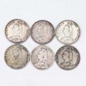 Queen Victoria Double Florins (x6) 1887, 1889, 1890 (x2 of each). Condition poor - VF+ and one
