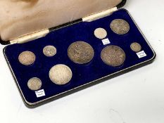 Queen Victoria 1887 Silver Set A made up set of 9 coins. 3d- crown, including the three different