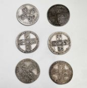 Great Britain Silver 6d George II. Comprising: a) 1757, circa EF (x1), circa VF (x1), F (x1). b)
