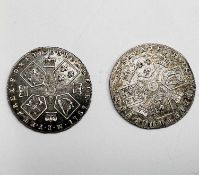 Great Britain Silver 6d George III Comprising: a) 1787 no semee of hearts EF. b) 1787 with semee