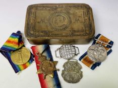 World War One Medals / Queen Mary Brass Gift Tin. Lot comprises 1914/15 Trio awarded to Pnr G.T.