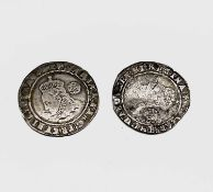 Elizabeth I, Sixpences x 2. 1574 worn, slight creasing; 1575 F. Condition: please request a