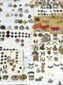 Miscellaneous Cap Badges, Collar Dogs, Shoulder Titles and Buttons. Lot comprises 10 cards and loose