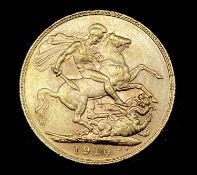 Great Britain Gold Sovereign 1910 Edward VII. Perth Mint mark Condition: please request a