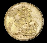 Great Britain Gold Sovereign 1900 Veiled Head. Sydney Mint mark. Condition: please request a