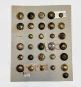 Numbered U.K. 19th Century Regiment Buttons. A card displaying 30 large, medium and small sized