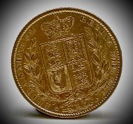 Great Britain Gold Sovereign 1864 Die no.65 Shield Back Condition: please request a condition report