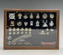 Staybrite badges, etc. Comprising a board mounted framed and glazed display of badges, collar