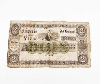 "World Banknote - Brazil. An unusual 1833 2 Mil Reis ""Decreto de 1 Junho 1833 Estampa 3"" banknote"